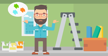 doubtful: A doubtful hipster man with the beard choosing color for a room on a background of room with step-ladder, paint cans and box with wallpapers vector flat design illustration. Horizontal layout. Illustration