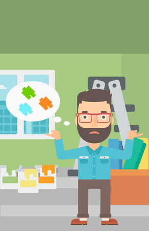 interior decoration: A doubtful hipster man with the beard choosing color for a room on a background of room with step-ladder, paint cans and box with wallpapers vector flat design illustration. Vertical layout. Illustration