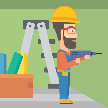 perforator: A hipster man with the beard drilling a hole in the wall using a perforator vector flat design illustration. Square layout.