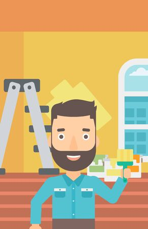 paint cans: A hipster man with the beard holding a paint brush on a background of room with paint cans and ladder vector flat design illustration. Vertical layout. Illustration