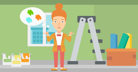 doubtful: A doubtful woman choosing color for a room on a background of room with step-ladder, paint cans and box with wallpapers vector flat design illustration. Horizontal layout. Illustration