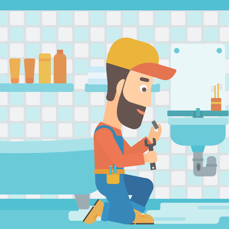 A hipster man with the beard sitting in a bathroom and repairing a sink with a spanner vector flat design illustration. Square layout.