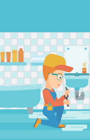A woman sitting in a bathroom and repairing a sink with a spanner vector flat design illustration. Vertical layout. Illustration
