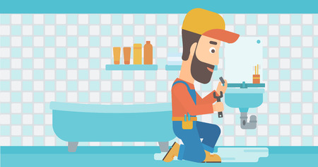 wash basin: A hipster man with the beard sitting in a bathroom and repairing a sink with a spanner vector flat design illustration. Horizontal layout. Illustration