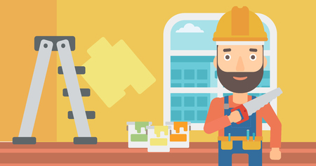 paint cans: A hipster worker with the beard holding a saw in hand on a background of room with paint cans and ladder vector flat design illustration. Horizontal layout.