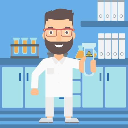 A laboratory assistant holding a test tube with biohazard sign on a laboratory background vector flat design illustration. Square layout.