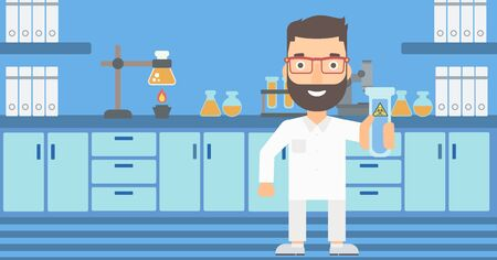 assistant: A laboratory assistant holding a test tube with biohazard sign on a laboratory background vector flat design illustration. Horizontal layout.