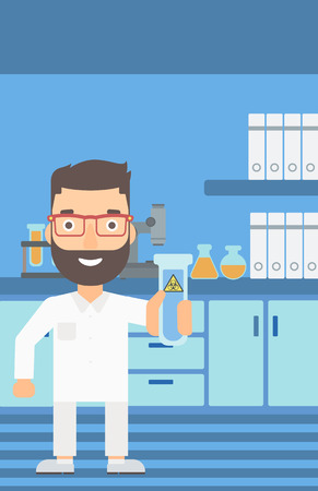 A laboratory assistant holding a test tube with biohazard sign on a laboratory background vector flat design illustration. Vertical layout. Ilustracja