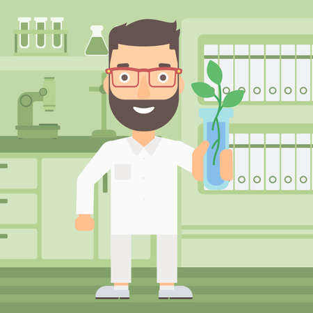 growing plant: A laboratory assistant holding a test tube with growing plant on a laboratory background vector flat design illustration. Square layout.