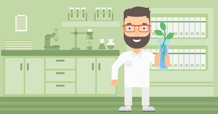 growing plant: A laboratory assistant holding a test tube with growing plant on a laboratory background vector flat design illustration.  Horizontal layout.