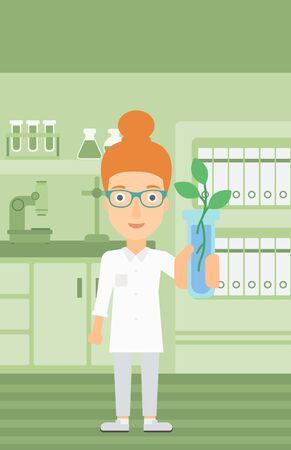 assistant: A laboratory assistant holding a test tube with growing plant on a laboratory background vector flat design illustration. Vertical layout. Illustration