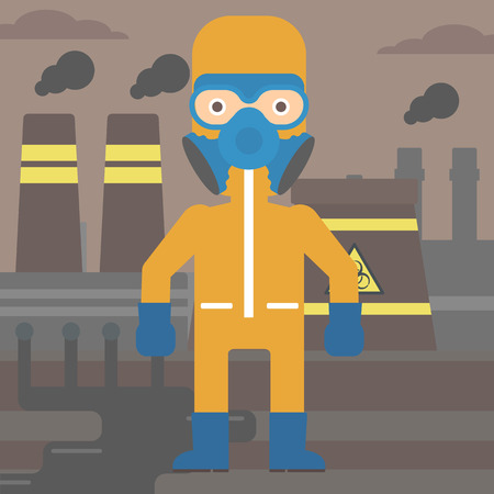 A man wearing a protective chemical suit for toxic atmosphere on background of nuclear power plant vector flat design illustration. Square layout. Illustration