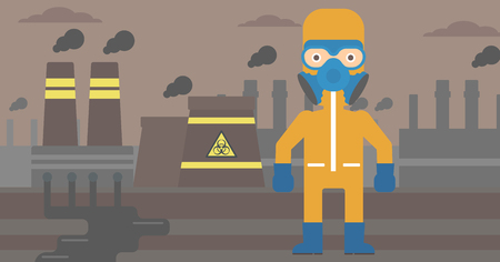 radiation suit: A man wearing a protective chemical suit for toxic atmosphere on background of nuclear power plant vector flat design illustration. Horizontal layout. Illustration