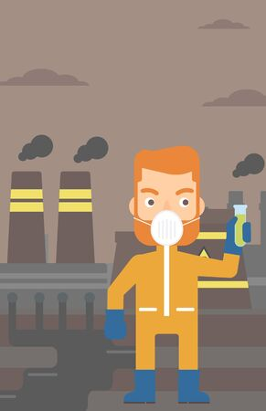 protective suit: A hipster laboratory assistant in protective chemical suit holding a test-tube in hand on background of nuclear power plant vector flat design illustration. Vertical layout. Illustration
