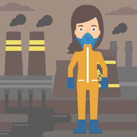 radiation suit: A woman wearing a protective chemical suit for toxic atmosphere on background of nuclear power plant vector flat design illustration. Square layout.