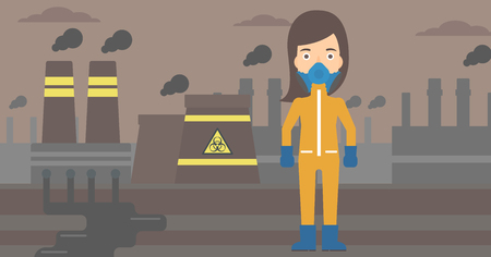 radiation protection suit: A woman wearing a protective chemical suit for toxic atmosphere on background of nuclear power plant vector flat design illustration. Horizontal layout.