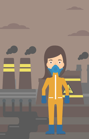 the atmosphere: A woman wearing a protective chemical suit for toxic atmosphere on background of nuclear power plant vector flat design illustration. Vertical layout.