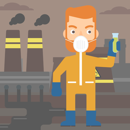 radiation suit: A hipster laboratory assistant in protective chemical suit holding a test-tube in hand on background of nuclear power plant vector flat design illustration. Square layout. Illustration