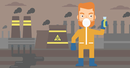 nuclear disaster: A hipster laboratory assistant in protective chemical suit holding a test-tube in hand on background of nuclear power plant vector flat design illustration. Horizontal layout. Illustration