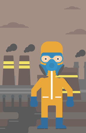 radiation suit: A man wearing a protective chemical suit for toxic atmosphere on background of nuclear power plant vector flat design illustration. Vertical layout.