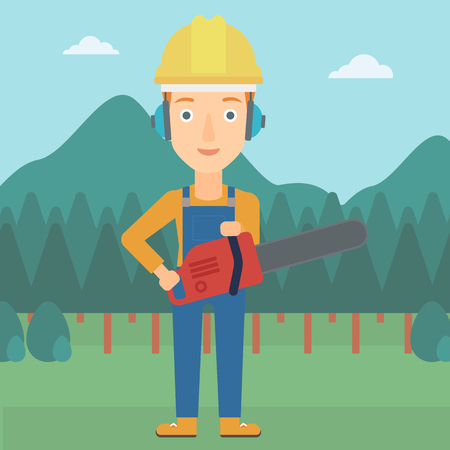 devastation: A lumberjack holding a chainsaw on a forest background vector flat design illustration. Square layout.