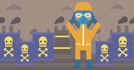 A man in protective chemical suit clutching his head on the background of radioactive barrel vector flat design illustration. Horizpntal layout.