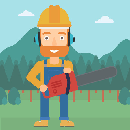 menace: A hipster lumberjack with the beard holding a chainsaw on a forest background vector flat design illustration. Square layout.