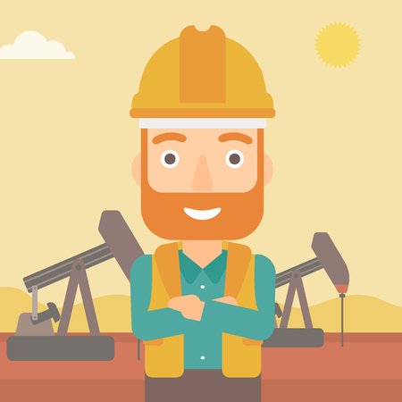exhaustion: A hipster man in helmet standing with crossed arms on an oil derrick background vector flat design illustration. Square layout.