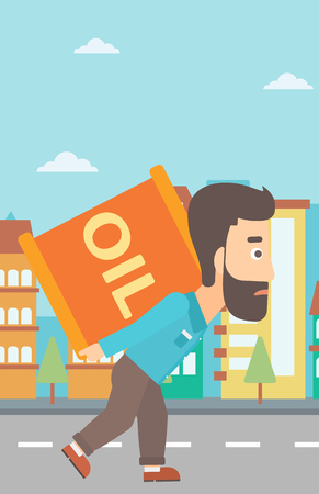 A hipster man with the beard carrying an oil can on his back on a city background vector flat design illustration. Vertical layout.