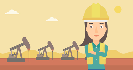 crossed arms: A woman in helmet standing with crossed arms on an oil derrick background vector flat design illustration. Horizontal layout.