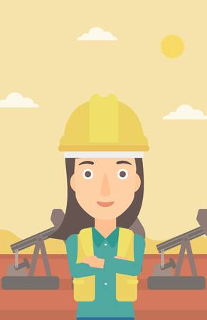 crossed arms: A woman in helmet standing with crossed arms on an oil derrick background vector flat design illustration. Vertical layout.