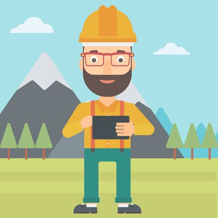 A hipster man with the beard in hardhat holding a tablet computer in hands on the background of mountain landscape vector flat design illustration. Square layout.