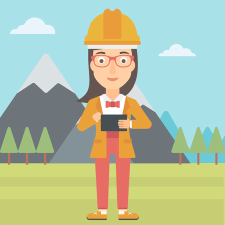peak hat: A woman in hardhat holding a tablet computer in hands on the background of mountain landscape vector flat design illustration. Square layout. Illustration