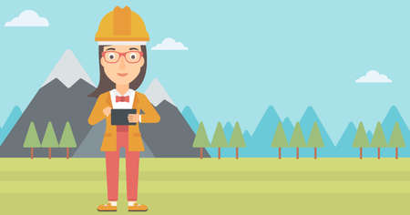 device: A woman in hardhat holding a tablet computer in hands on the background of mountain landscape vector flat design illustration. Horizontal layout.