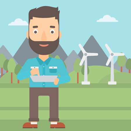 using tablet: A hipster man with the beard holding a tablet computer in hands on a background with solar pannels and wind turbins vector flat design illustration. Square layout.