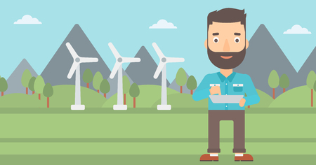 device: A hipster man with the beard holding a tablet computer in hands on a background with solar pannels and wind turbins vector flat design illustration. Horizontal layout.