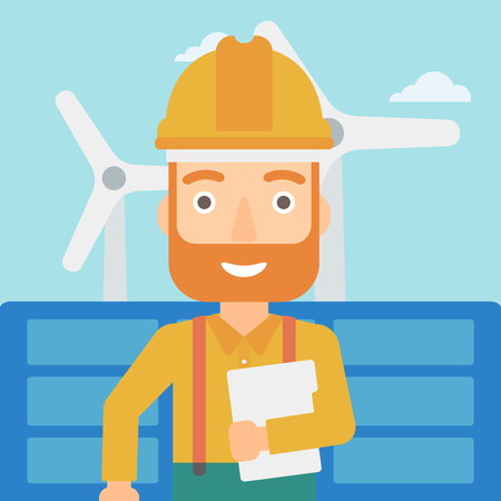 A hipster man with the beard standing with a tablet computer in hand on a background with solar pannels and wind turbins vector flat design illustration. Square layout. Vettoriali
