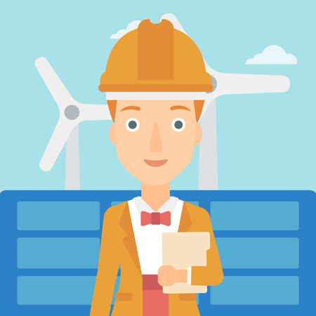 A woman standing with a tablet computer in hand on a background with solar pannels and wind turbins vector flat design illustration. Square layout. Illusztráció
