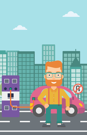 plugging: A hipster man with the beard charging his electric car on a city background vector flat design illustration. Vertical layout.