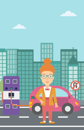 plugging: A woman charging her electric car on a city background vector flat design illustration. Vertical layout. Illustration