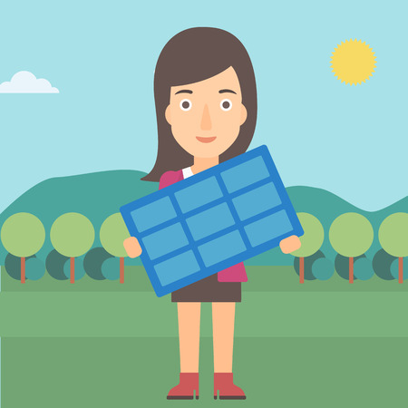 flat panel: A woman holding a solar panel in hands on the background of mountain landscape vector flat design illustration. Square layout. Illustration