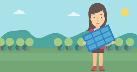 A woman holding a solar panel in hands on the background of mountain landscape vector flat design illustration. Horizontal layout.
