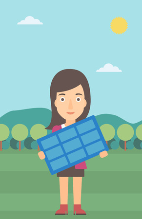 A woman holding a solar panel in hands on the background of mountain landscape vector flat design illustration. Vertical layout.