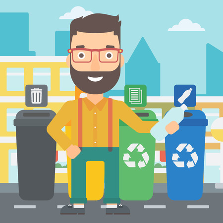 appropriate: A hipster man with the beard standing near four bins and throwing a plastic bottle in an appropriate bin on a city background vector flat design illustration. Square layout.