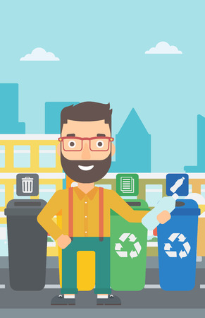 appropriate: A hipster man with the beard standing near four bins and throwing a plastic bottle in an appropriate bin on a city background vector flat design illustration. Vertical layout.