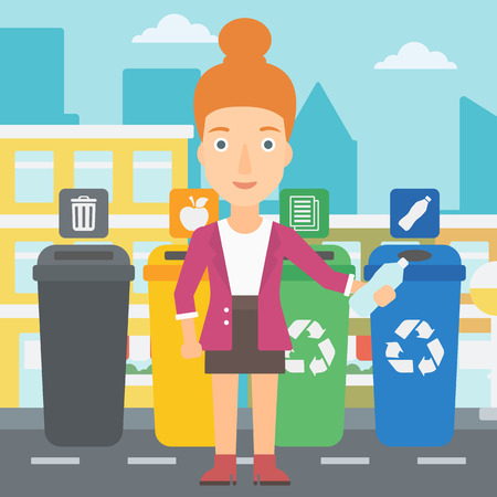 appropriate: Young woman standing near four bins and throwing a plastic bottle in an appropriate bin on a city background vector flat design illustration. Square layout. Illustration