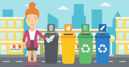 appropriate: Young woman standing near four bins and throwing a plastic bottle in an appropriate bin on a city background vector flat design illustration. Horizontal layout. Illustration