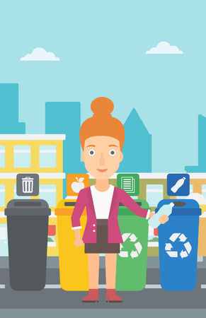 appropriate: Young woman standing near four bins and throwing a plastic bottle in an appropriate bin on a city background vector flat design illustration. Vertical layout. Illustration