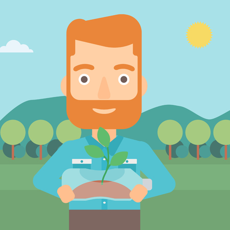 small plant: A hipster man with the beard standing on the background of mountain landscape and holding in hands a plastic bottle with a small plant growing inside vector flat design illustration. Square layout. Illustration