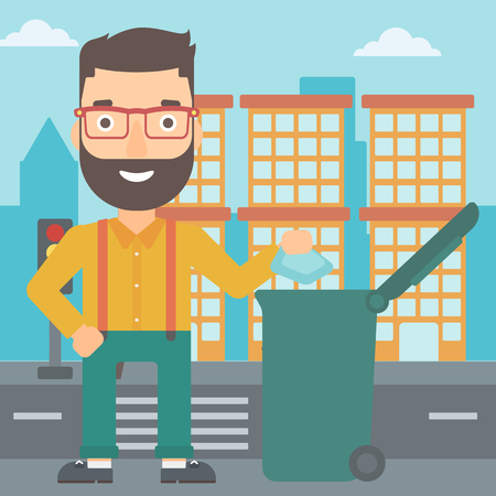 A hipster man with the beard throwing a trash into a green bin on a city background vector flat design illustration. Square layout.